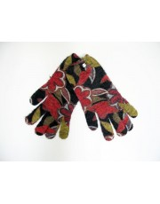 Printed Angora Gloves Red