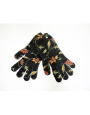 Printed Angora Gloves Flowers