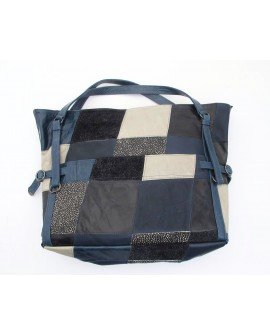 Leather Patchwork Bag Blue
