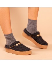 Warm Slipper Strass Grey